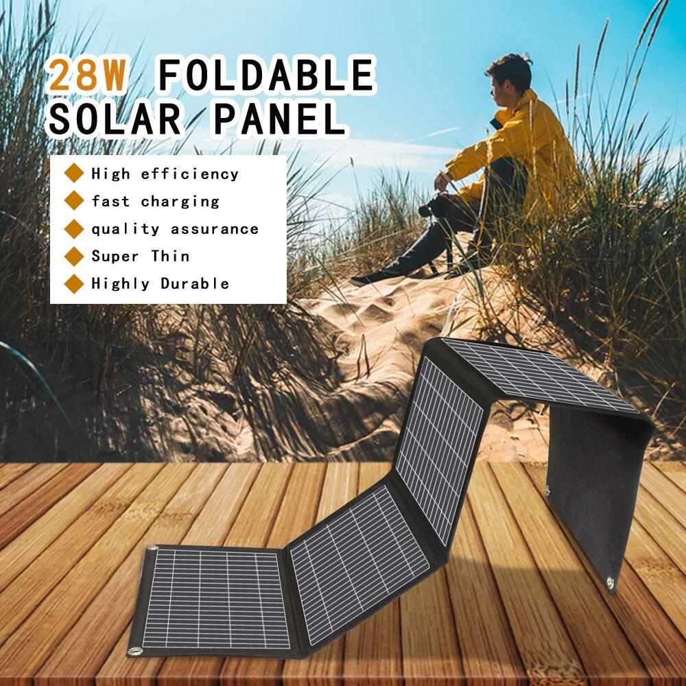 hot sale Multipurpose foldable solar panel 18v 28w portable solar charger for laptop 12v battery phone tablet